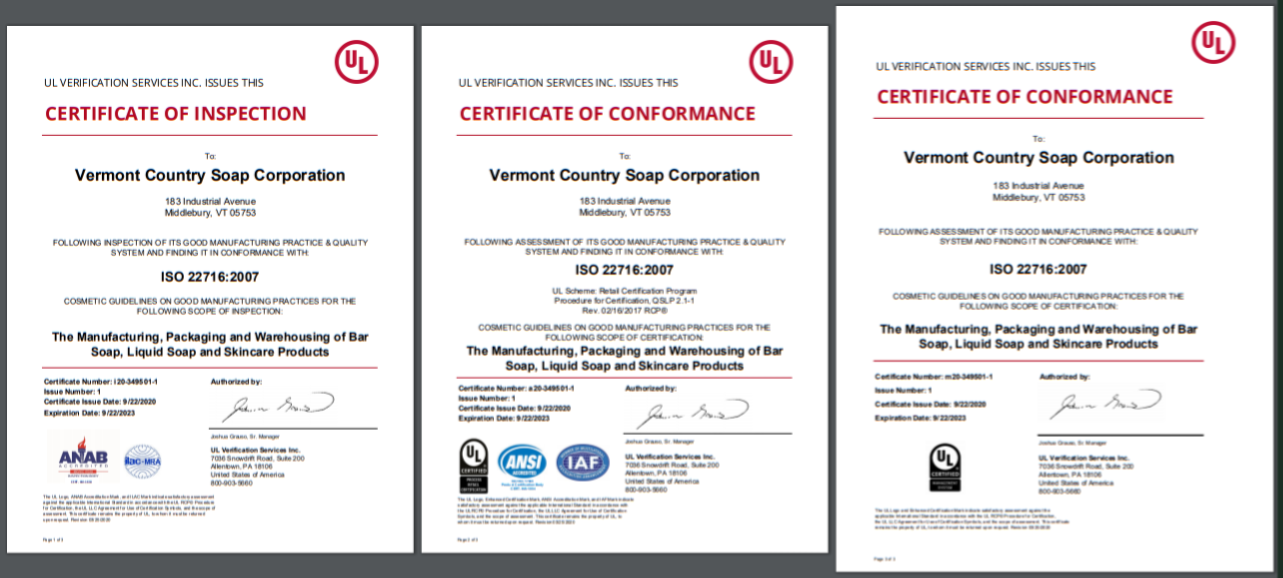 three certificates of inspection and conformance